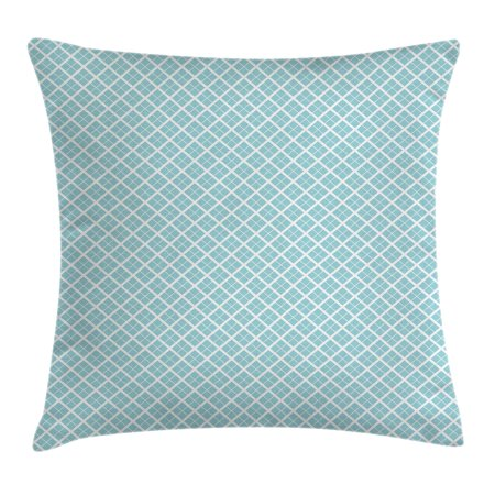 Aqua Throw Pillow Cushion Cover, Ocean Themed Pattern Swirled Waves Seascape in Oviform Maritime Surfing Decor, Decorative Square Accent Pillow Case, 20 X 20 Inches, Light Blue White, by Ambesonne
