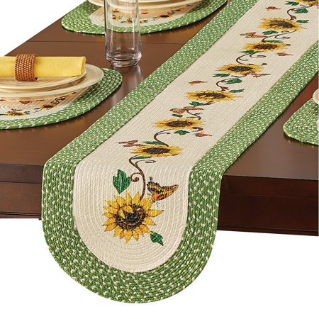 - Yellow Sunflower Braided Green Border Table Linens - Seasonal Dining Room Accent