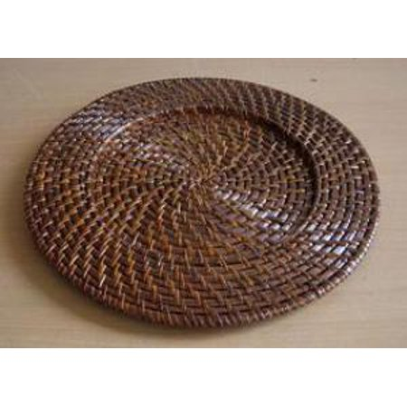 Charge It By Jay Brick Brown Round Rattan Chargers Plates Set Of 4