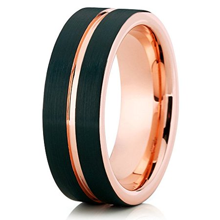 Tungsten Wedding Band 18K Rose Gold Tungsten Ring Black Tungsten Carbide Ring 8mm Comfort Fit Men Women
