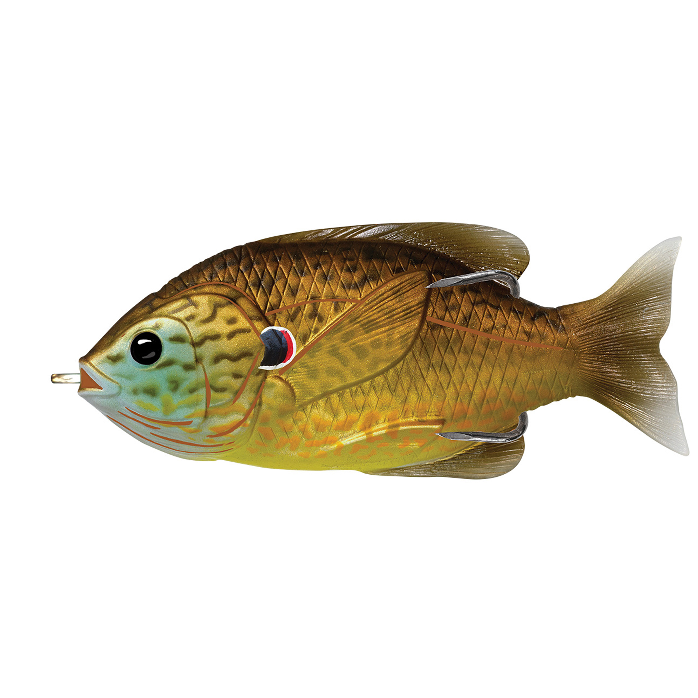 "LiveTarget Sunfish Hollow Body Freshwater, 3"", #3/0 Hook. Topwater Depth, Copper Pumpkinseed"