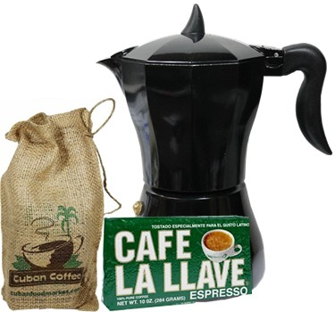 Cuban Coffee Maker 3 to 6 Cups Includes One Pack 10 oz Delicious Cafe La Llave