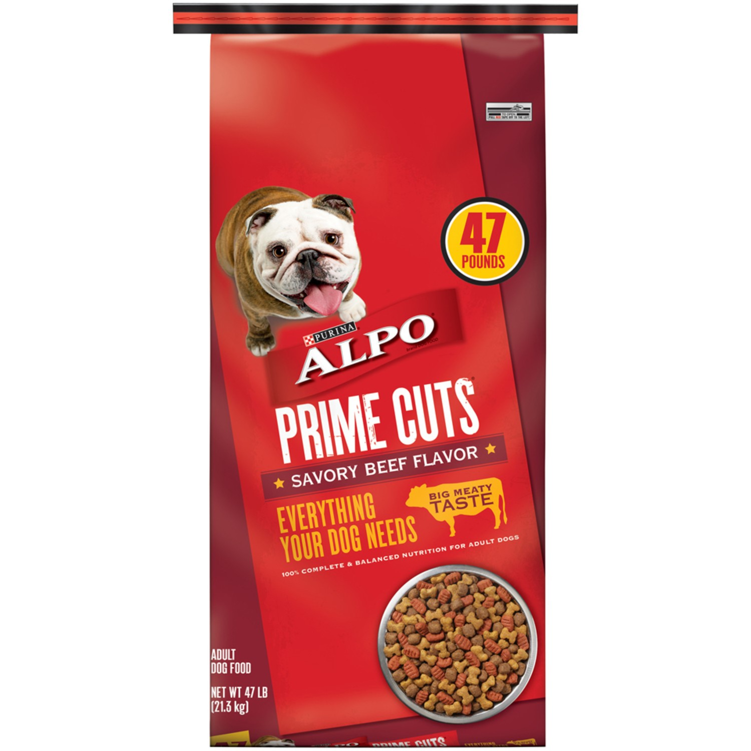 Purina Alpo Prime Cuts Savory Beef Flavor Dry Dog Food, 47 Lb.