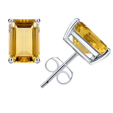 1.1 Ctw Natural Octagon Cut Yellow Citrine Earrings, November Birthstone Butterfly Backend Prong Set 925 Starling Silver Earrings, Best Gift For