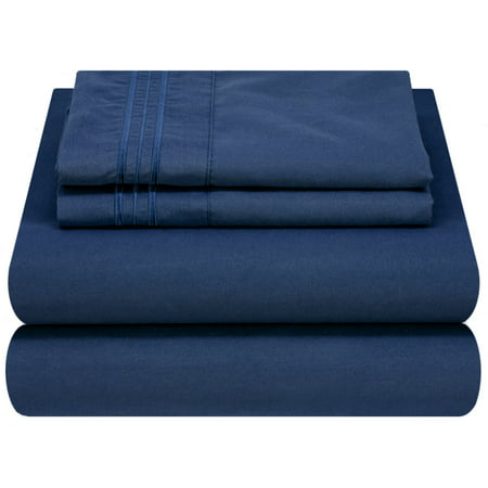 Mezzati Luxury 1800 Prestige Soft and Comfortable Collection Bed Sheets Set Queen Blue