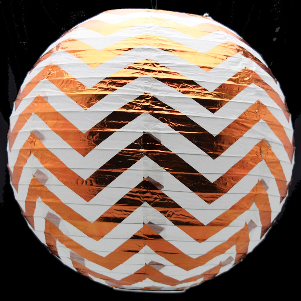 "Quasimoon 14"" Copper Chevron Metallic Foil Paper Lantern, Even Ribbing, Hanging by PaperLanternStore"