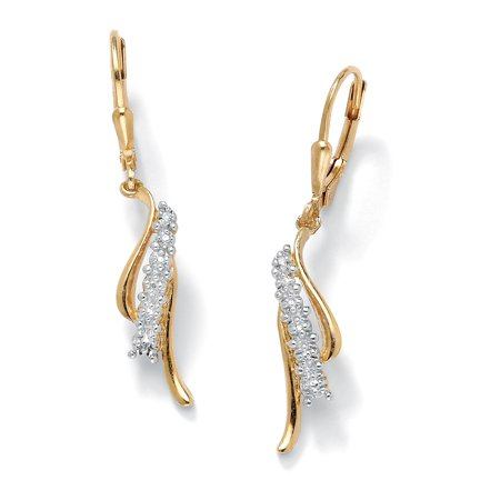 Diamond Accent Waterfall Drop Earrings in 18k Gold over Sterling Silver