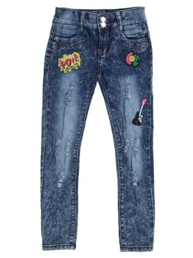 DG8-8K019(S) - Girls' Premium Stretch 5 Pockets, Patchwork, Ripped Skinny Jeans