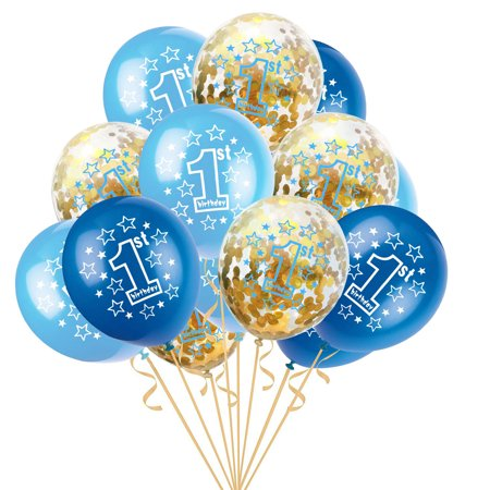"Outtop 15pcs 12"" Foil Latex Confetti Balloon Baby One Year Old Happy Birthday Party (HOT SALE) - Hot Wheel Birthday Party"