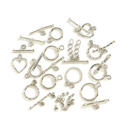 Silver Metal Toggle (Cousin Metal Silver Toggle Starter Set, 11 Piece )