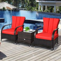 Deals on Topbuy 3 Pcs Outdoor Patio Rattan Conversation Set Wicker Chairs