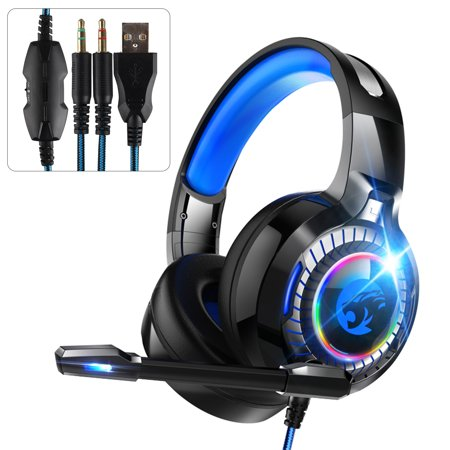 Gaming Headset with Mic fits for Xbox One, PS4, PS3, TSV Noise Cancelling Over Ear Headphones, Stereo Surround Bass Sound,Volume-Control,Adjustable headband,Soft Memory Earmuffs for Microphone Gamer
