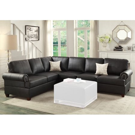 Marvelous Simple Relax Reversible Loveseat Wedge Couch Sectional Sofa Trim Black Bonded Leather Caraccident5 Cool Chair Designs And Ideas Caraccident5Info