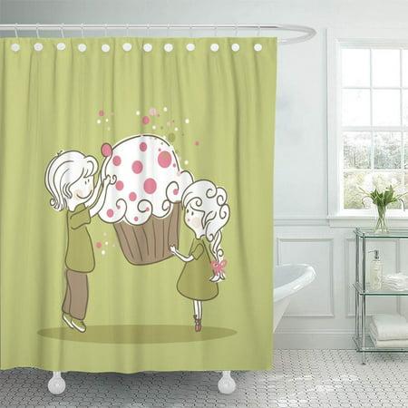 PKNMT Green Birthday Boy Girl Cupcake Pink Happy Love Couple Muffin Cartoon Party Bathroom Shower Curtain 66x72 inch (Muffin Happy Birthday)