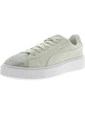 88a642ce16ab Product Image Puma Women s Basket Platform Canvas Blue Flower   Silver  Ankle-High Fashion Sneaker - 10.5