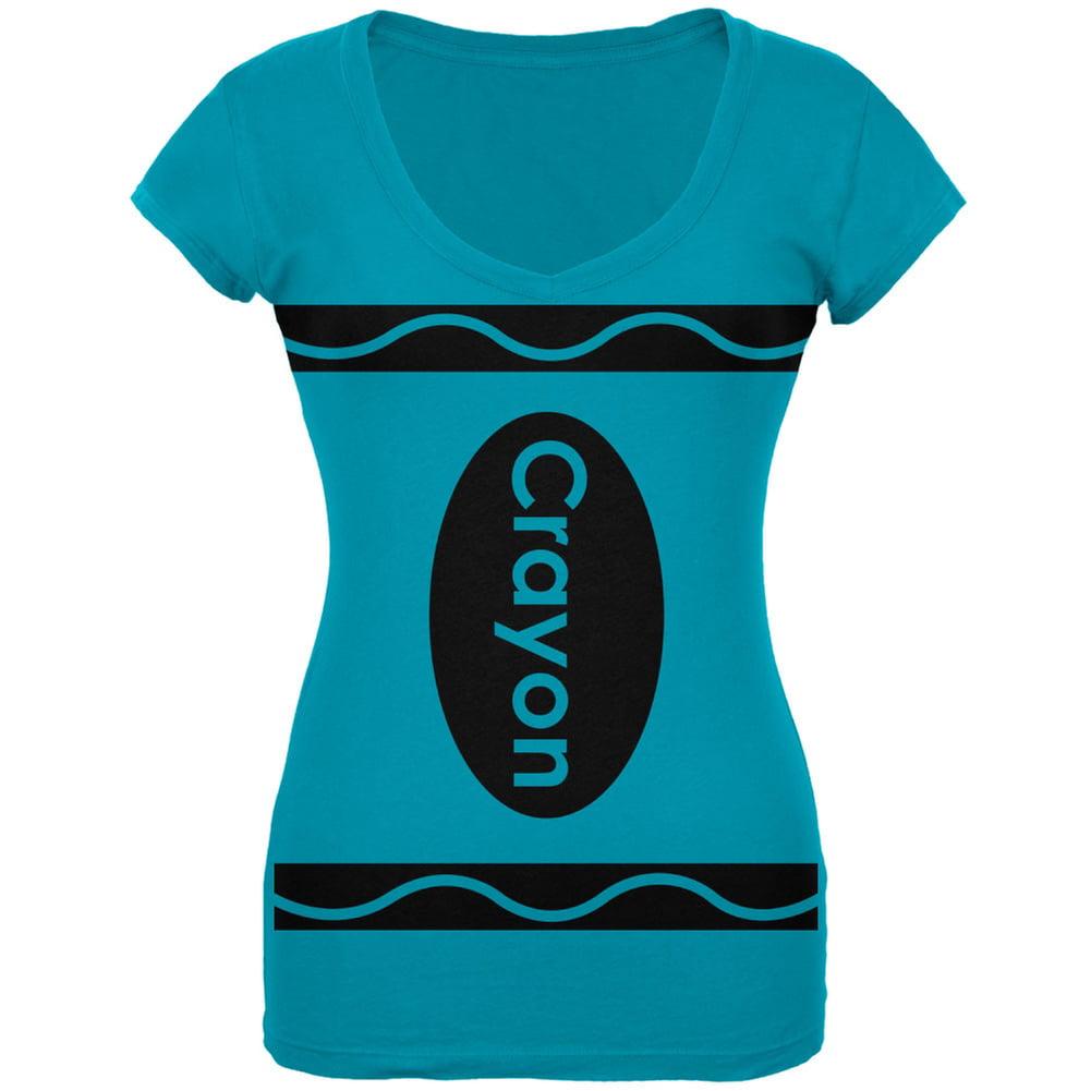 Crayon Costume Turquoise Juniors V-Neck T-Shirt