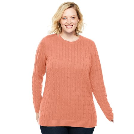 Plus Size Cable Knit V-neck Pullover Sweater Plus Cable Knit Trim Sweaters