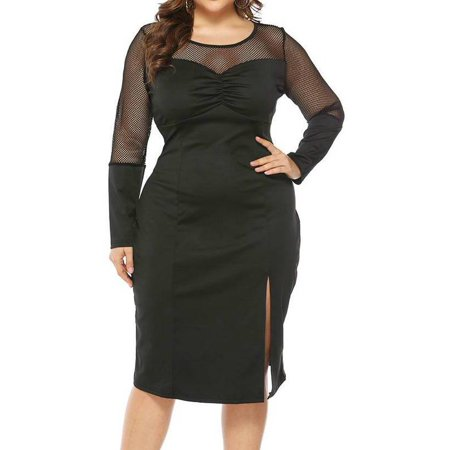 e8fc4c145c AKFashion - AKFashion Women's Plus Size Long Sleeve Round Neck Sexy See  Through Mesh Split Knee Length Dress - Walmart.com