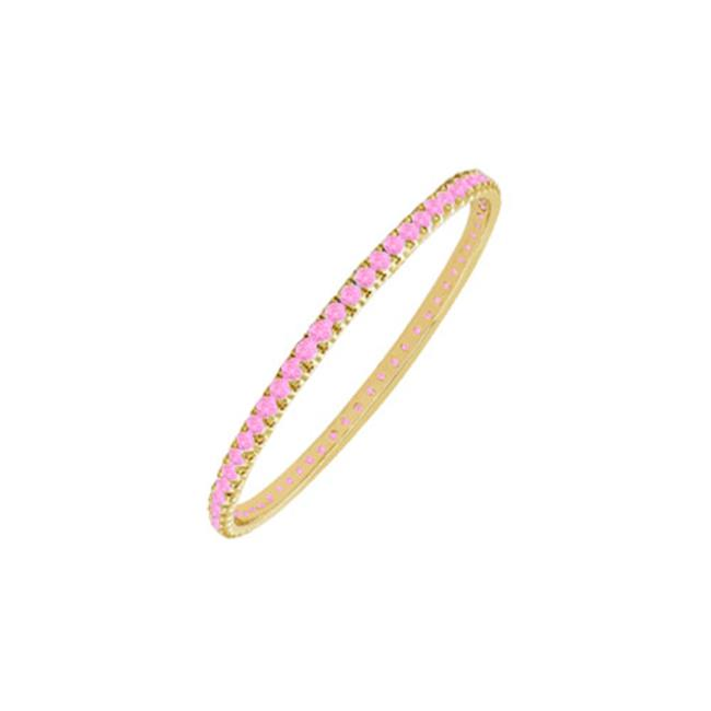 Fine Jewelry Vault UBUGGAGVYRD131200PS September Birthstone Created Pink Sapphire Eternity Bangle Bracelet in 18K Yellow... by Fine Jewelry Vault