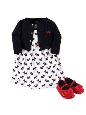 Hudson Baby Girl Cardigan, Dress & Shoes, 3pc Outfit Set