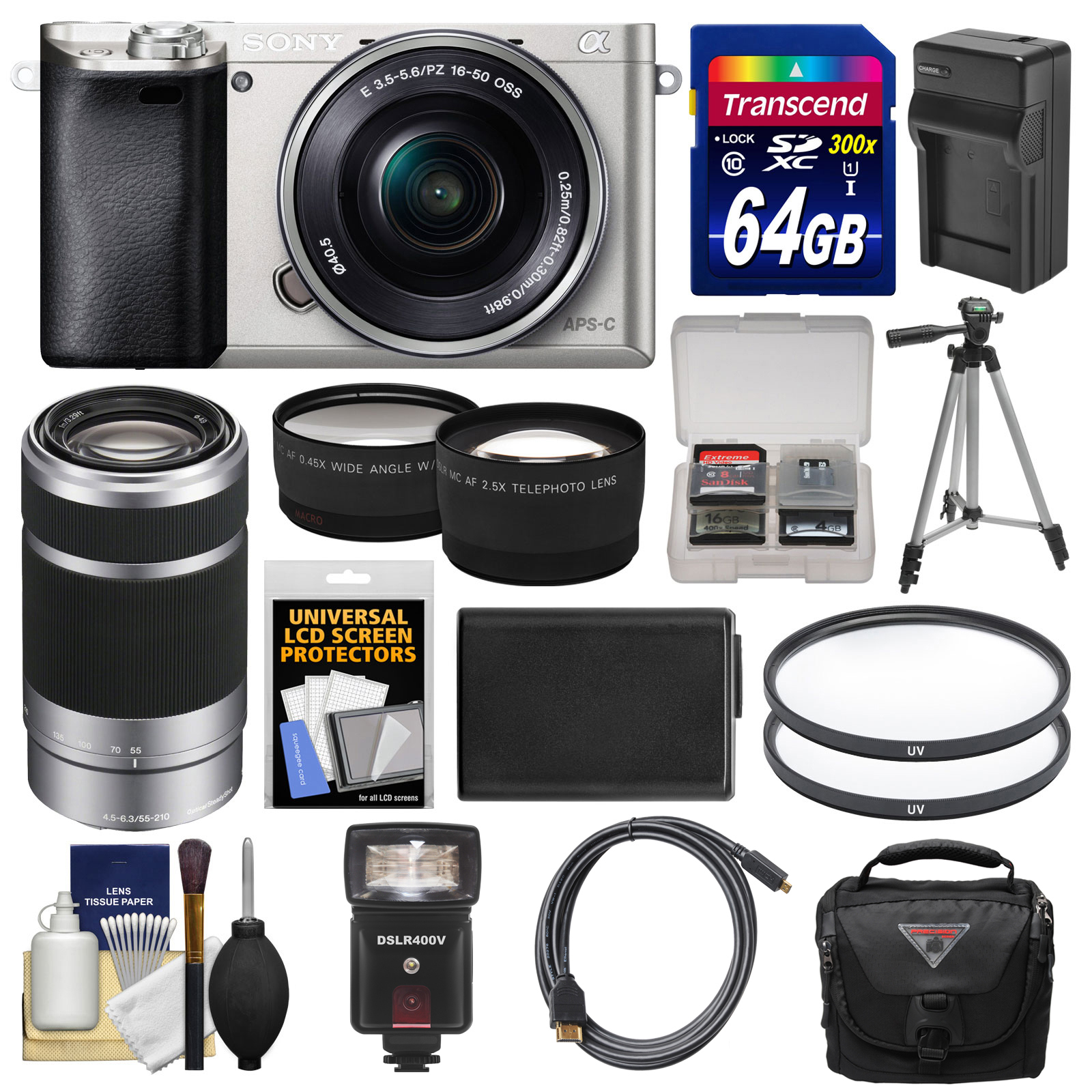Sony Alpha A6000 Wi-Fi Digital Camera & 16-50mm Lens (Silver) with 55-210mm Lens + 64GB... by Sony