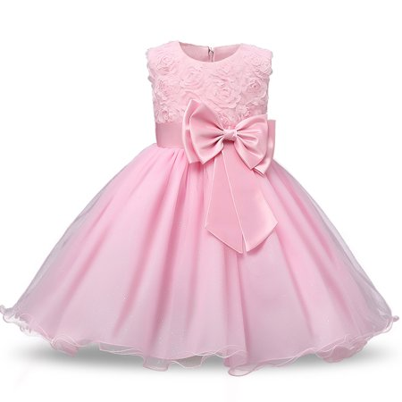 Formal Party Dresses Baby Teenage Girl Clothes Kids Toddler Birthday Bow Outfit Costume Children Graduation Princess Gowns Pink 100cm](Pink Ladies Costume Party City)