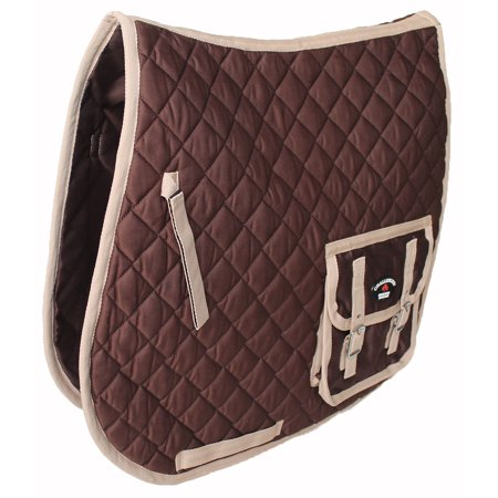 - Horse Quilted Aussie Australian ENGLISH SADDLE PAD 2 Pockets Dressage Brown 7268