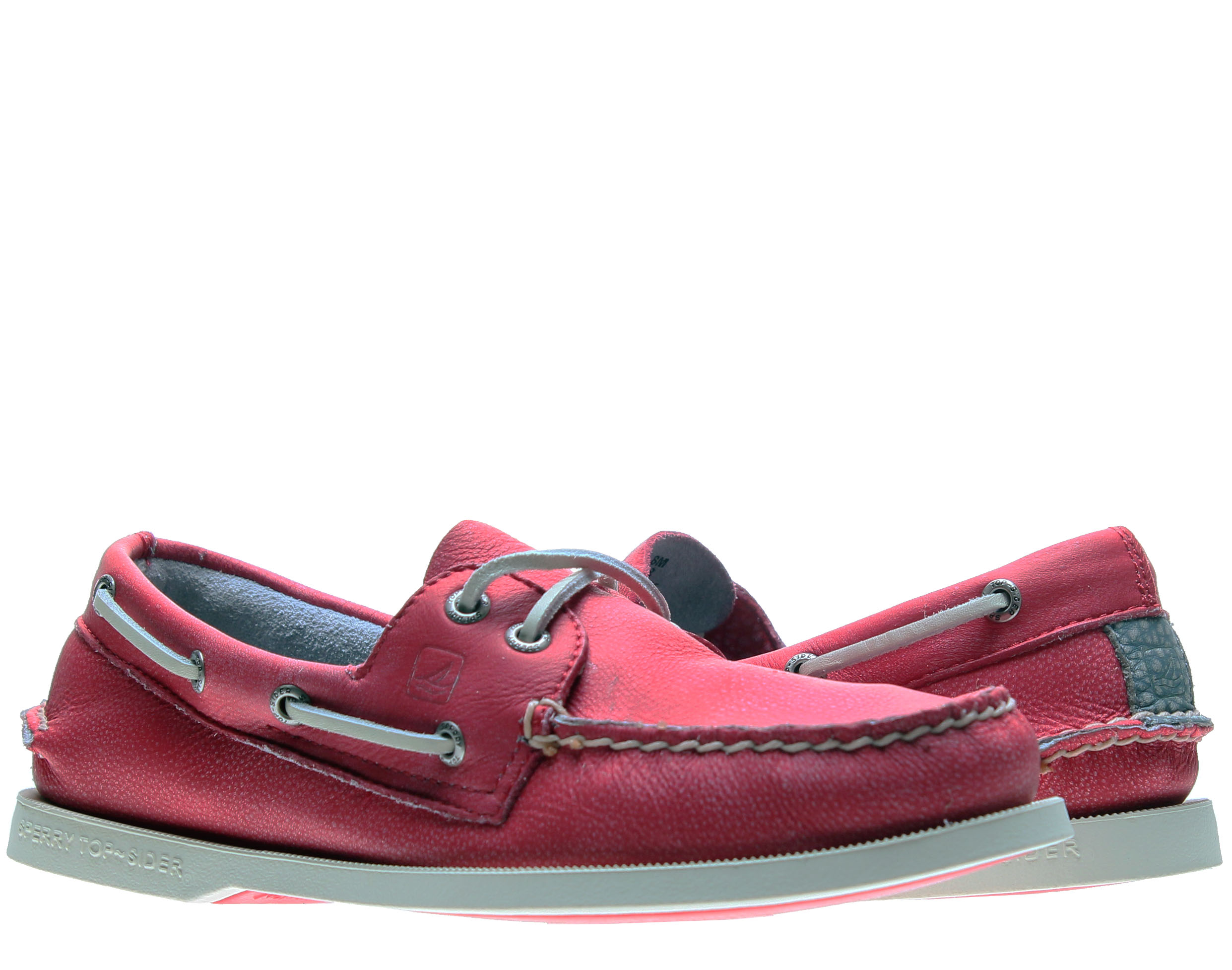 Sperry Top Sider Authentic Original Red Washed 2-Eye Men's Boat Shoes 1049378 by