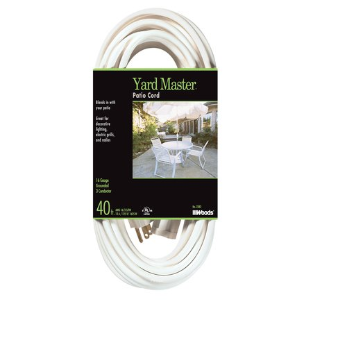 Coleman Cable Yard Master Outdoor Extension Cord, 40 Ft., White by Woods