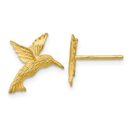 (Solid 14k Yellow Gold Hummingbird Earrings)
