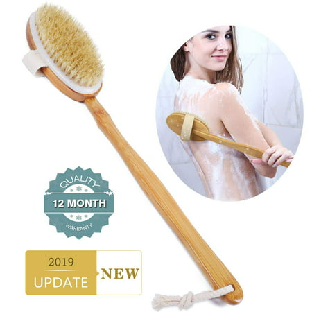 Back Scrubber - Back Brush - Long Handled Curved Wooden Bath + Shower Brush For Men and Women - Best for Exfoliating, Dry Brushing & Full Body