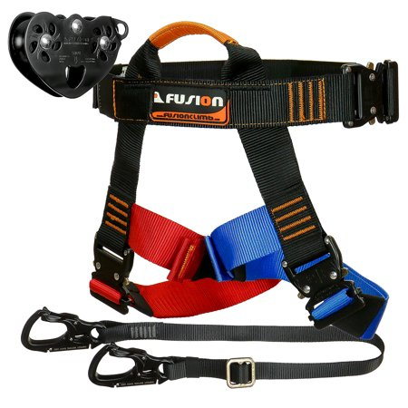 Fusion Climb Tactical Edition Adults Commercial Zip Line Kit Harness/Lanyard/Trolley Bundle - Zip Line Kit