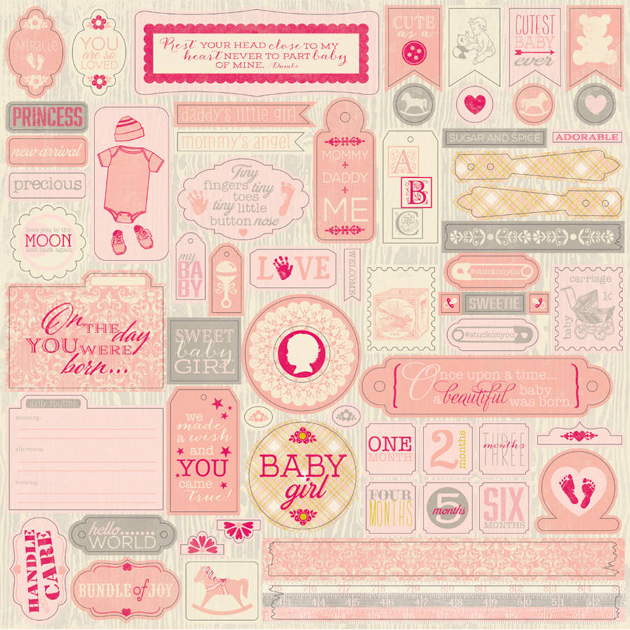 "Cuddle Girl Cardstock Stickers, 12"" x 12"", Details"