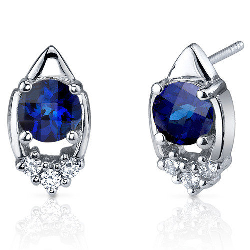 Oravo Majestic Charm 2.00 Carats Blue Sapphire Round Cut Cubic Zirconia Earrings in Sterling Silver