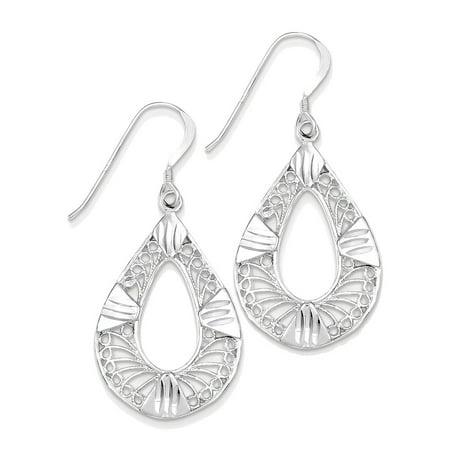 Silver Teardrop Earring Charm (925 Sterling Silver Filigree Teardrop Dangle)