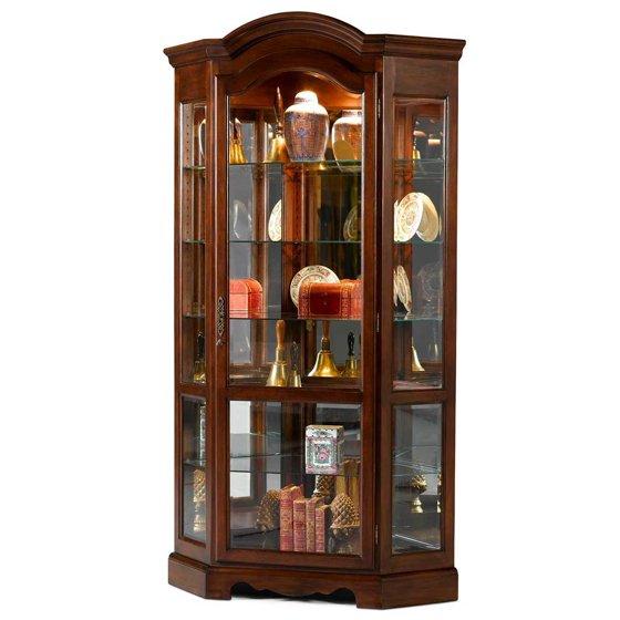 Arch Top Corner Curio Cabinet - Walmart.com