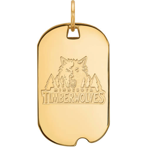 LogoArt NBA Minnesota Timberwolves 14kt Gold-Plated Sterling Silver Small Dog Tag