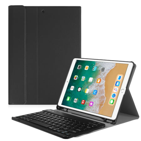 (Fintie New iPad Pro 10.5 Inch 2017 Keyboard Case Cover with Built-in Apple Pencil Holder, Black)