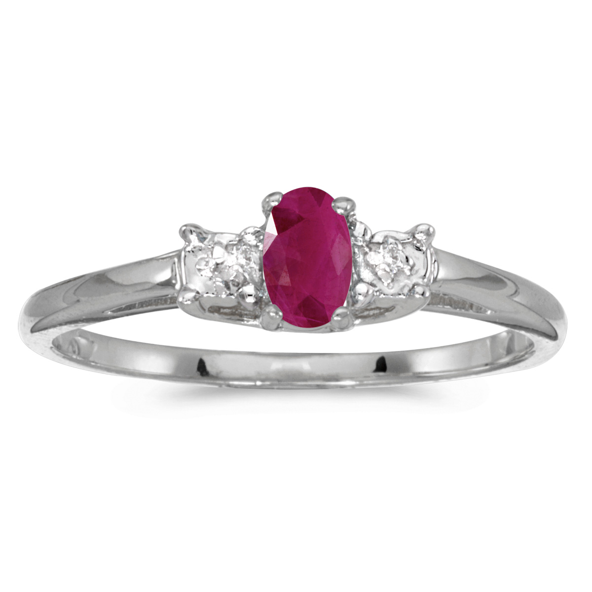 14k White Gold Oval Ruby And Diamond Ring by