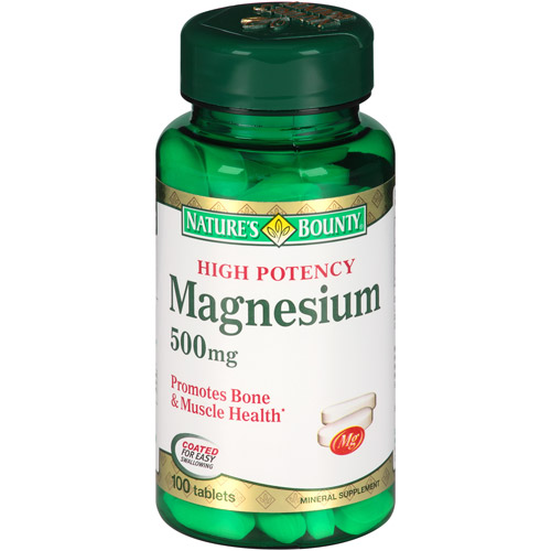 Nature's Bounty High Potency Magnesium Tablets, 500mg, 100 count