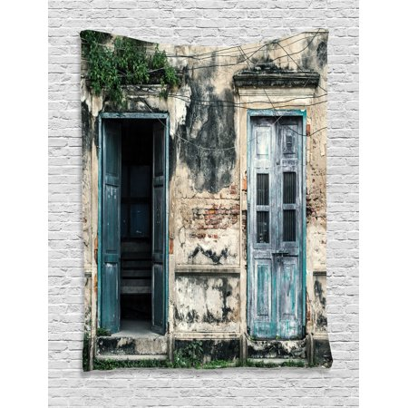 Rustic Decor Wall Hanging Tapestry, Doors Of An Old Rock House With French Frame Details In Countryside European Past Theme, Bedroom Living Room Dorm Accessories, By Ambesonne