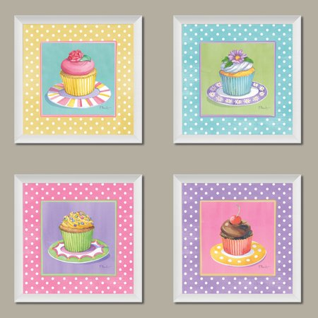 - 4 Cute Colorful Cupcakes Art Prints Pastel Baking Kitchen Decor Paul Brent, Four 8 by 8-Inch White Framed Prints, Pink/Yellow/Blue/Lavender Pastels