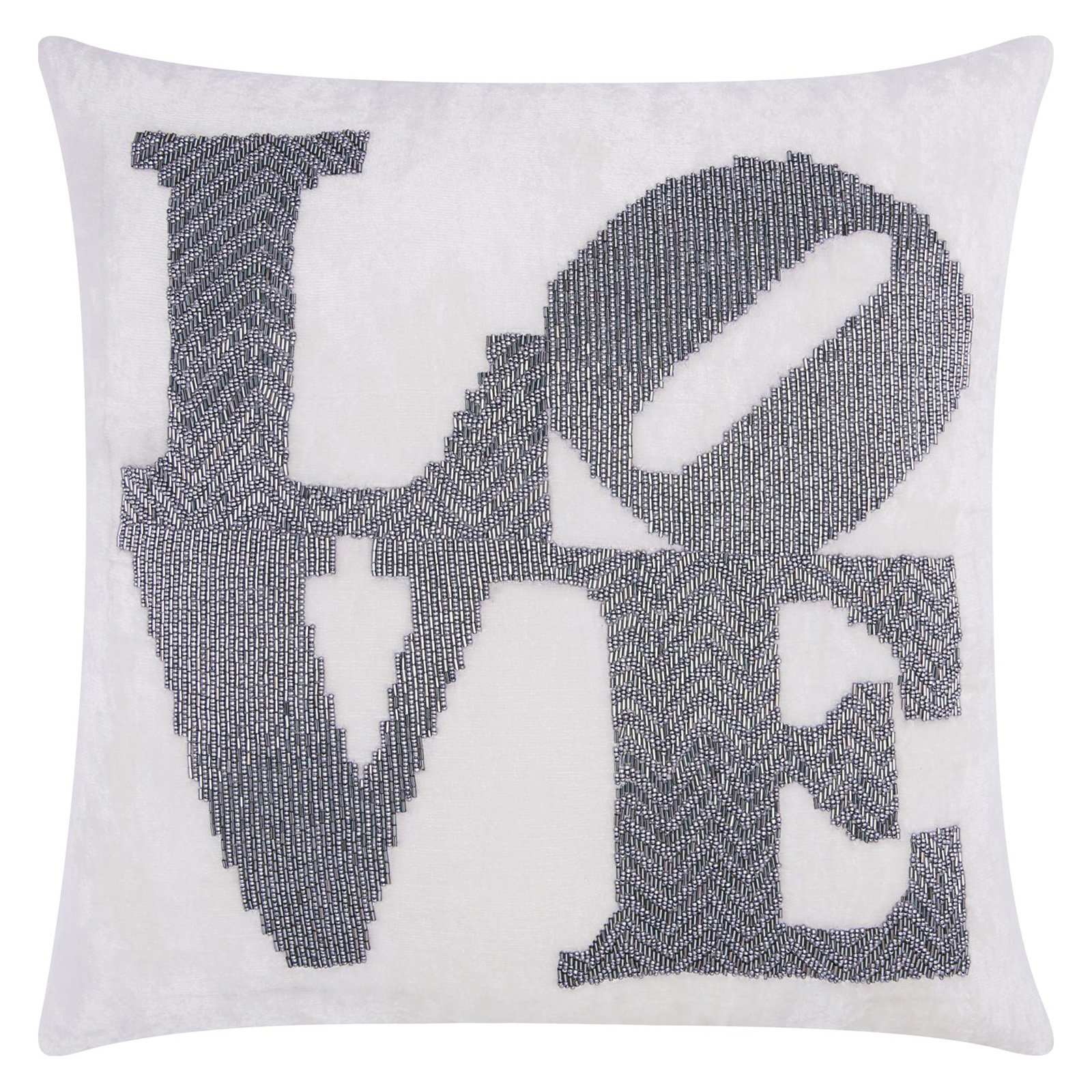 Nourison Luminecence Fully Beaded Love Pewter Throw Pillow