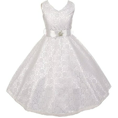 Big Girls' Lace Overlay Satin Brooch Flowers Girls Dresses White Size (Dress White Brooch)