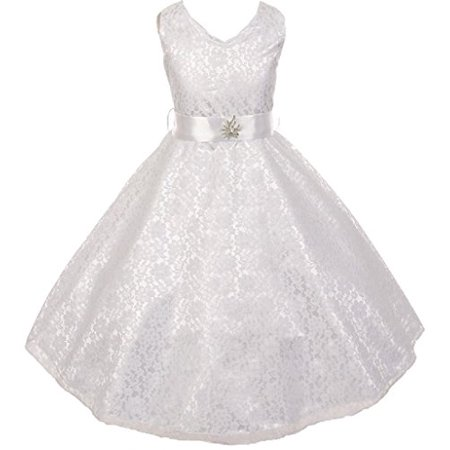 Big Girls' Lace Overlay Satin Brooch Flowers Girls Dresses White Size 16](Girls And Pink)