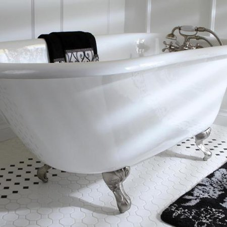 - Kingston Brass Classic Roll Top Petite 54-inch Cast Iron Clawfoot Tub with Tub Wall Drilling