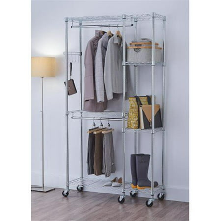 77 x 41 x 14 in. EcoStorage Mobile Closet Organizer, Chrome