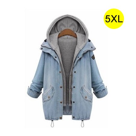 Women's Hooded Drawstring Boyfriend Trends Jean Swish Pockets Two Piece Coat Jacket