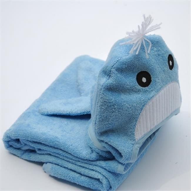 Little Ashkim BHTW002 Little Kid Whale Hooded Bamboo Turkish Towel - Blue, 2T-5T