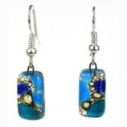 Tili Glass Earthtones Glass Earrings, Blue - Small